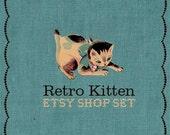 Retro Premade Etsy Shop Set - Kitten and Blue Linen