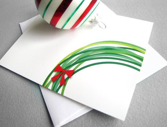 Wreath Christmas cards, green wreath, red bow - Set of 5 - modern christian religious cards