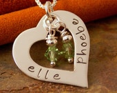 Personalized Hand Stamped Heart - Sterling Silver Heart Washer Necklace - Love Heart with Birthstones