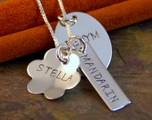 Hand Stamped Jewelry - Sterling Silver Personalized Mommy Necklace - My Three Kids (mixed charms)
