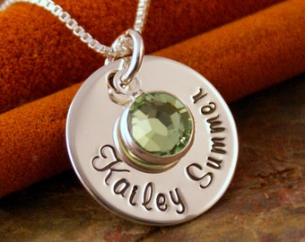 Hand Stamped Mommy Jewelry - Personalized Sterling Silver Necklace - Name Tag with Birthstone (First and middle name)