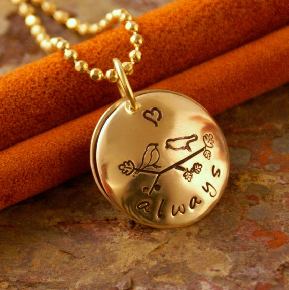 Hand Stamped Personalized Jewelry - Custom Locket - Love you always Mixed Metals Locket