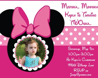 Minnie Mouse Invite in Pink and Red Versions