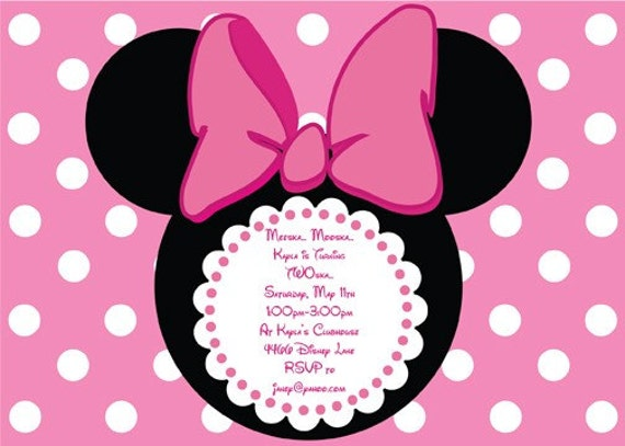 Custom Made Minnie Mouse Invitations for awesome invitation ideas