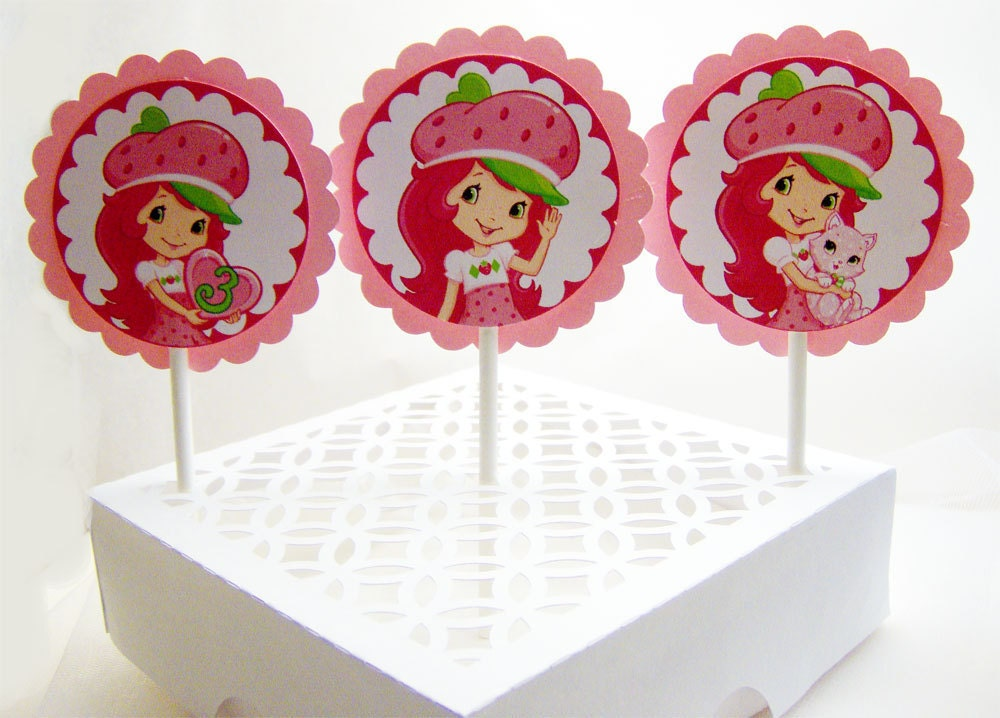 Strawberry Shortcake Cupcake Toppers by SilverOrchidGraphics