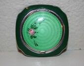 SALE! Vintage Compact 1920s Evans Guilloche Enamel Green Compact Excellent Condition