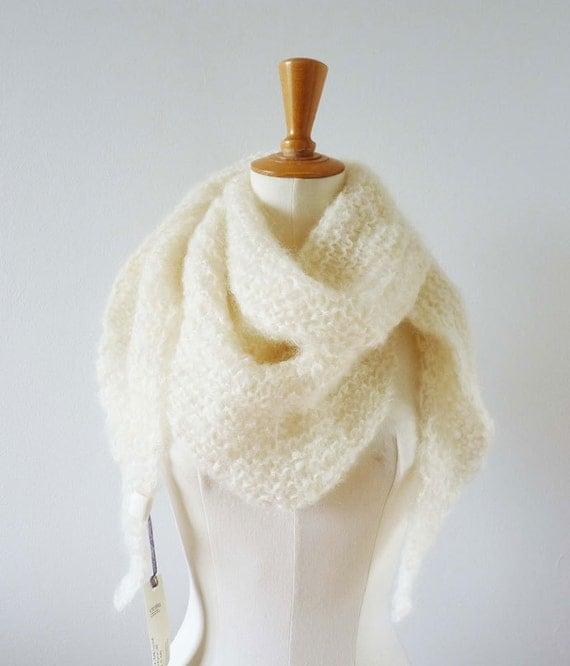Cream White Mohair Shawl