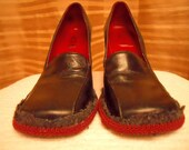 UPCYCLED BCBG Blk Leather Loafer Pumps Shoes 6B