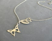 Flower And Butterfly Necklace, Sterling Silver - Handmade Butterfly Jewelry By Hila Binyamin