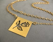 Rose necklace In Gold Plated Brass, Handmade