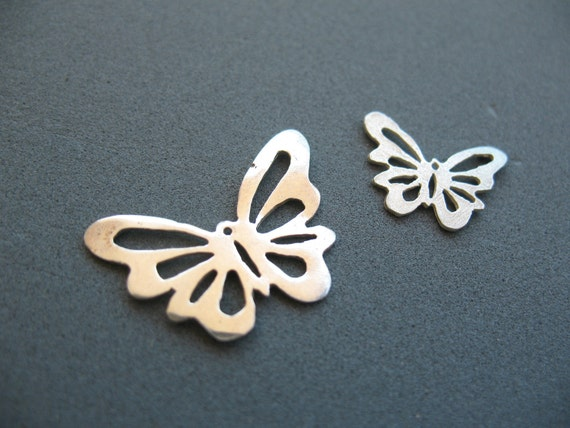Handmade Butterflies Charms, Sterling Silver, Jewelry Findings, Under 15USD