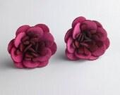 Fuchsia / Burgundy Fabric Flower Post Earrings in Sterling Silver, sz Large