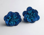Large Flower Post Earrings in Sterling Silver & in Tonal Blue Fabric