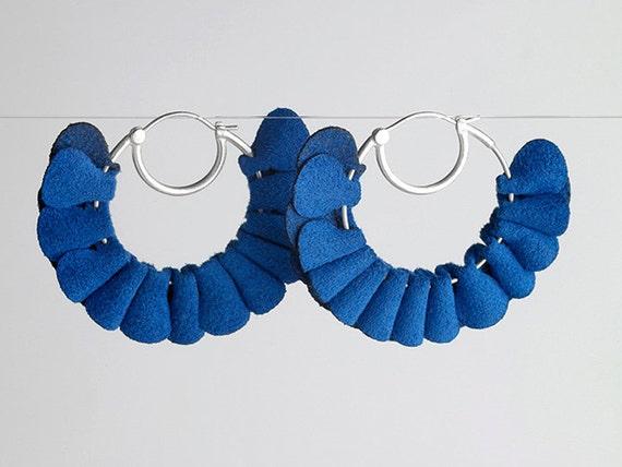 Cobalt Ruffle Hoop Earrings in Sterling Silver & Fabric