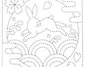 Bunny 90 - Sashiko White Sampler with Thread