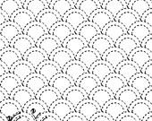 Scallops 7 - Sashiko White Sampler with Thread