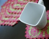 Cloth Coasters, Pink and Green Damask, Trimmed in Pink, Reversible. Set of 8.