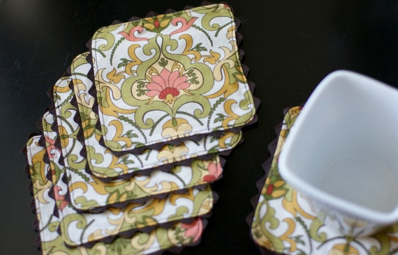 Cloth Coasters, Lotus Design, Yellow, Green, White, Pink, Trimmed in Brown, Reversible. Set of 6.