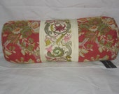 Red Floral Bolster 7x18
