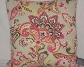 Jacobean Floral Pillow Cover 18x18