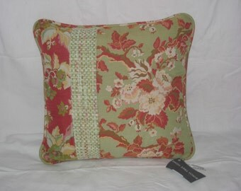 Red Floral Pillow Cover 16x16