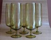 SALE 5 Vintage Green Glass Stemmed Goblets