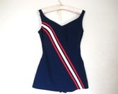 60s red white and blue PINUP swim suit plus size
