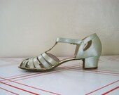 RESERVED 30s Celadon Satin T Strap Shoes Sandals Size 8.5 9