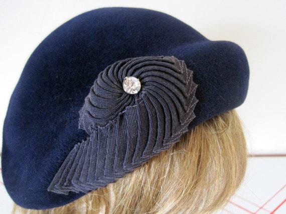 50s Sculptural Detail Rhinestone Navy Blue Cocktail Hat