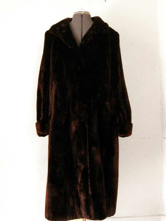 Real Seal Fur 1950s Incredible Full Length Swing Coat