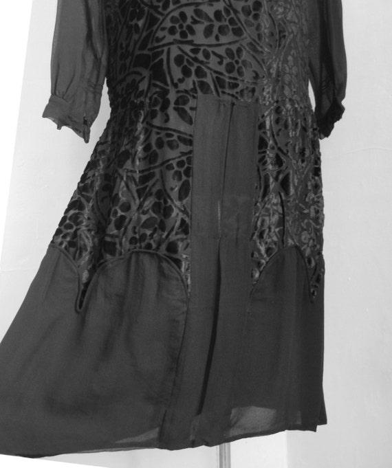 20s AUTHENTIC Black Cut Velvet BURNOUT and Chiffon Crepe Dress