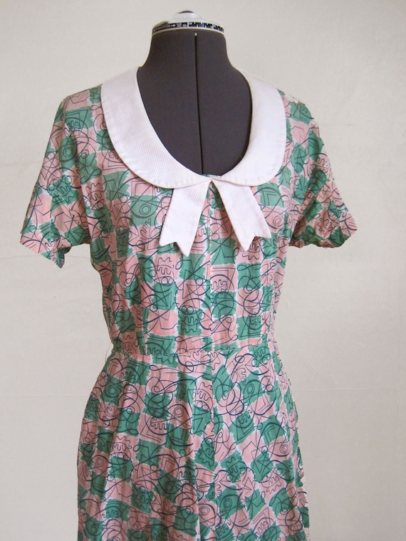 RESERVED FOR STEFI B 40s 50s Novelty Print Dress with Peter Pan Bow Collar Mini Dress