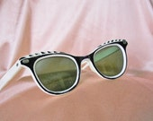 Sunglasses 40s Vintage Sunglasses Modified Cat-eye Black & White Ultra-Fancy----NO Shipping Charges