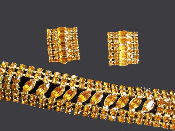60s Bracelet & Clip-on Earrings Set Vintage Topaz Rhinestone Demi Parure