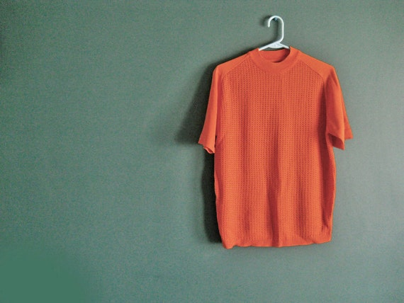 Mens Shirt // Early 60s Orange Vintage Sweater // Rockabilly Ban Lon // NO Shipping Charges