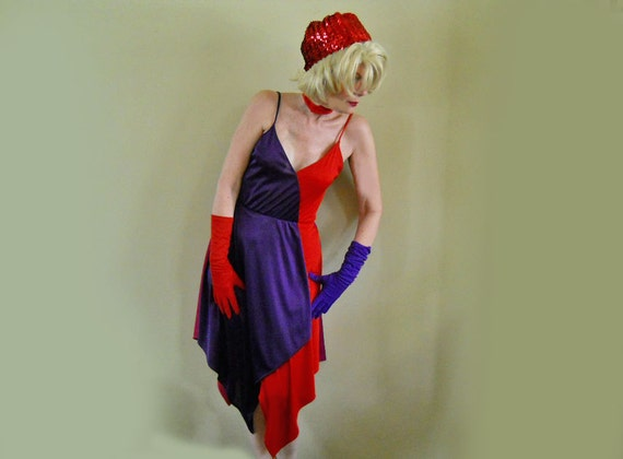 70s Disco Dress Red & Purple Knit Made for Dancing