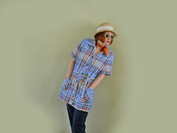 60s Mini Dress // Tunic // Short Sleeve Shirt Dress // Plaid with Belt