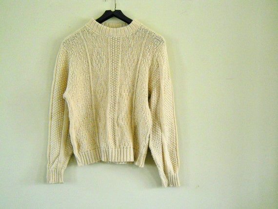 Fisherman Knit Sweater--Mens 60s Vintage Cable-Knit Pullover // Ivory // NO Charge for Shipping