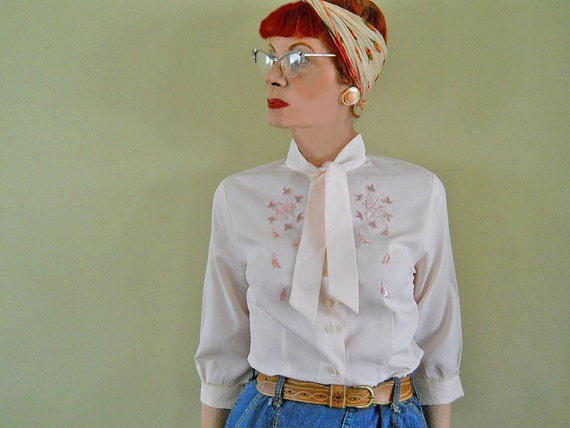50s Blouse // Pink Blouse // Vintage Top // Tie at Neck // Prim Secretary Bow // NO Charge for Shipping