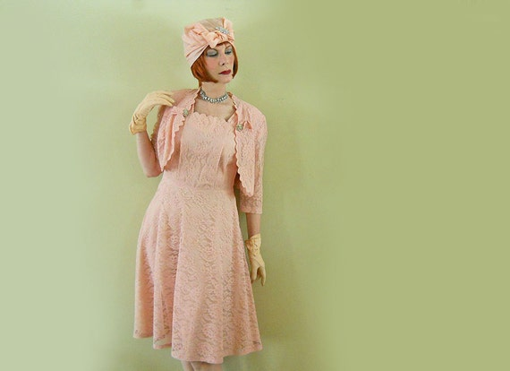 40s Dress & Bolero / NO Charge 4 Shipping / Peach Vintage Lace / Rhinestones