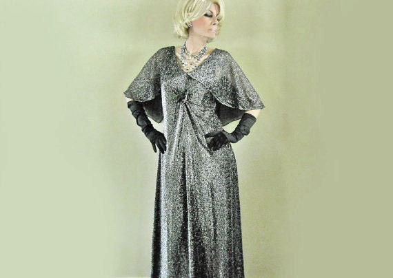 60s Gown // Metallic Silver Evening Formal //  Attached Capelet // Early 60s // NO Charge for Shipping