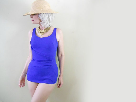 Vintage One Piece Swimsuit - 1960s - Modesty Panel - Vintage Bathing Suit - REDUCED