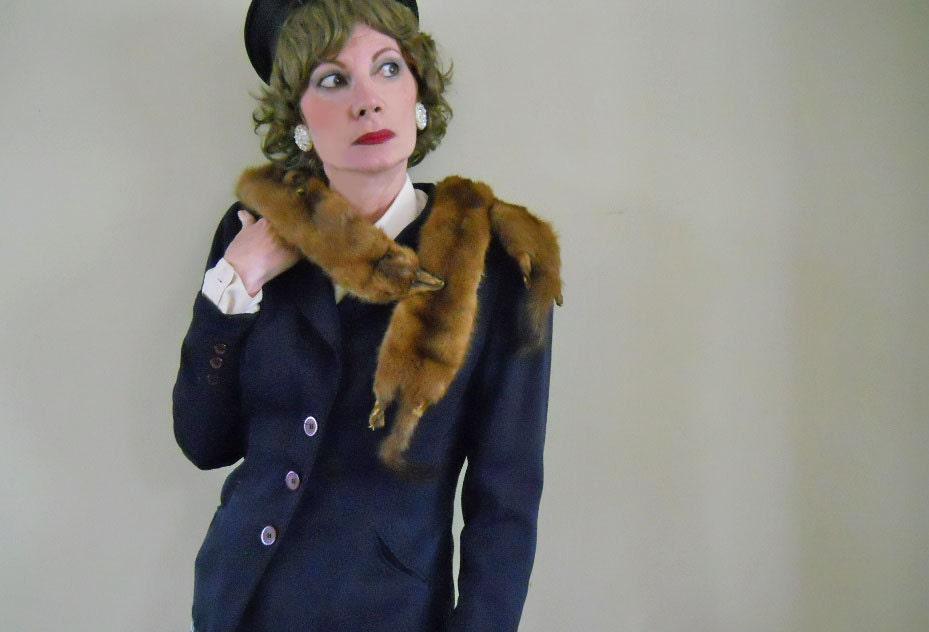 Vintage fur stole 1940s mink shawl triple mink stole - Stoel fur ...