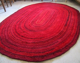 Oval Crochet  RAG RUG , different shades of red, burgundy - 6 x 8 - made to order