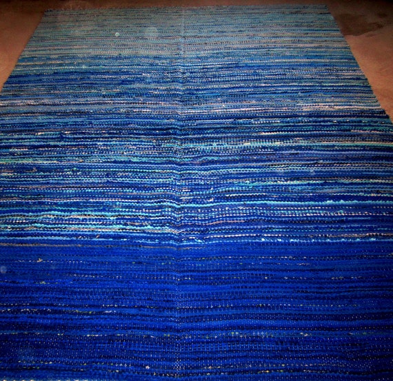 Large Handwoven rag rug  MADE TO ORDER- 5.9' x 7.55.'-Blue Lagoon'