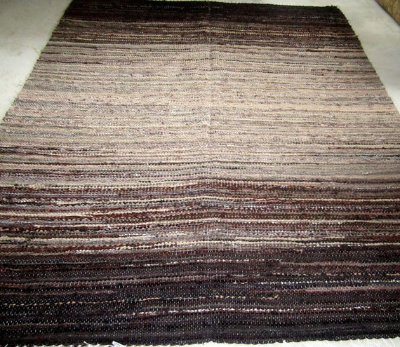 Large Handwoven rag rug - 5.9' x 7.41.'-Brown and beige'