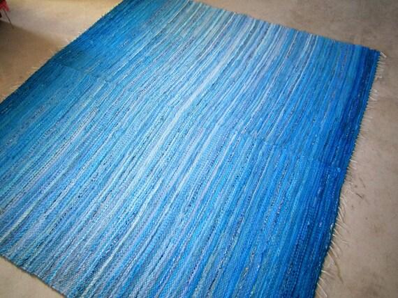 Large Handwoven rag rug - 5.9' x 5.22.'-Blue Lagoon'