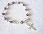 rosary bracelet purple amethyst and silver cross handmade prayer beads catholic rosary June trends