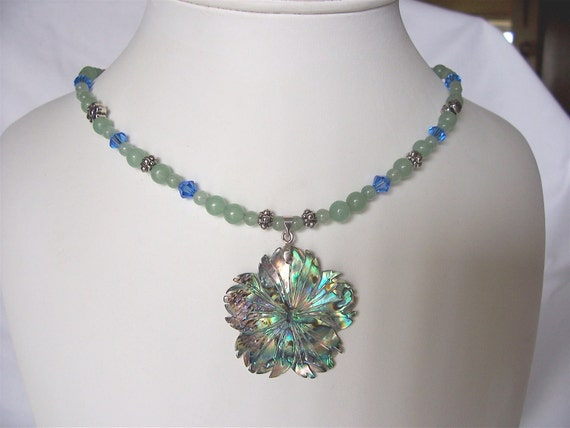 Abalone - green aventurine - Swarovski crystal- necklace and earrings jewelry set-ooak