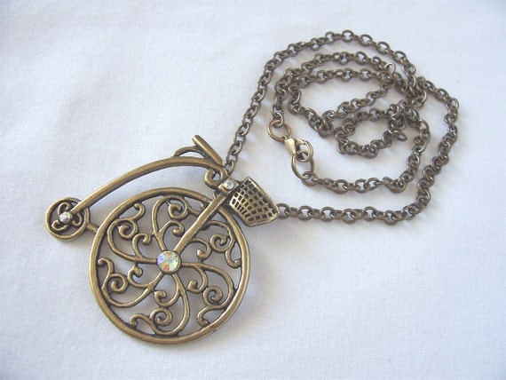bicycle necklace antique style steampunk Fall fashion September trends vintage inspired great gift idea